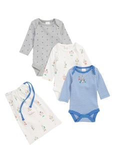 Mini Boden Robot 3-Pack Organic Cotton Bodysuits (Baby Boys)