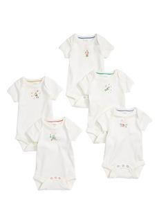 Mini Boden Robot 5-Pack Organic Cotton Bodysuits (Baby)