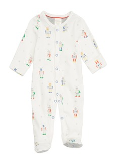 Mini Boden Robot Print Fitted One-Piece Footie Pajamas (Baby Boys)