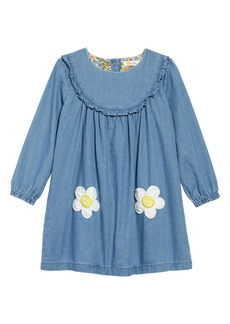 Mini Boden Ruffle Chambray Dress (Toddler Girls)