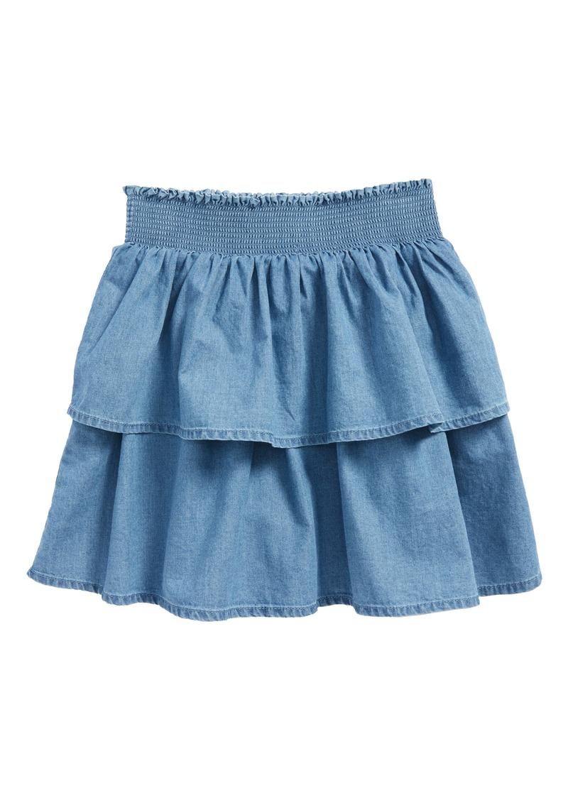 hot-selling latest sale online 100% satisfaction Mini Boden Mini Boden Ruffle Denim Skirt (Toddler Girls, Little Girls & Big  Girls) | Skirts