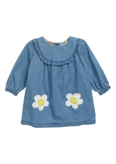Mini Boden Ruffle Trim Chambray Dress (Baby)