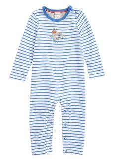 Mini Boden Seal Appliqué Organic Cotton Romper (Baby Boys)