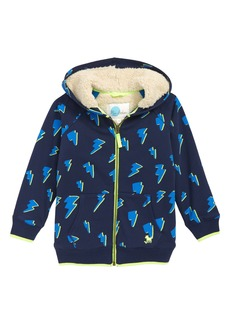 Mini Boden Shaggy Lightning Bolt Zip Hoodie (Toddler Boys, Little Boys & Big Boys)