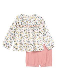 Mini Boden Smock Woven Top & Shorts Set (Baby Girls & Toddler Girls)