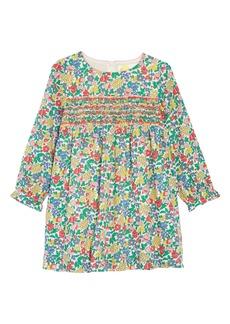 Mini Boden Smocked Flower Print Dress (Toddler Girls, Little Girls & Big Girls)