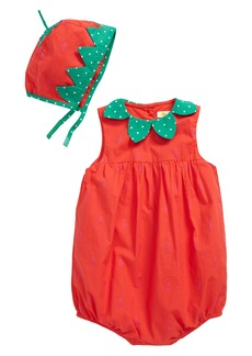 Mini Boden Strawberry Woven Bubble Romper & Bonnet Set (Baby)