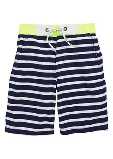 Mini Boden Stripe Board Shorts (Little Boys & Big Boys)