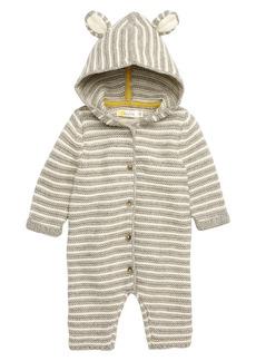 Mini Boden Stripy Knit Hooded Romper (Baby)