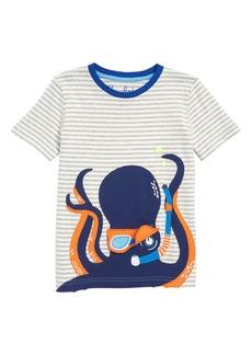 Mini Boden Summer Octopus Appliqué T-Shirt (Toddler Boys, Little Boys & Big Boys)