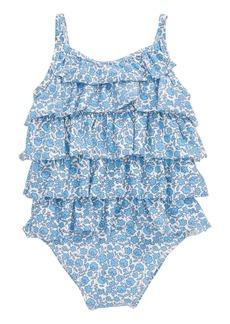 Mini Boden Summer Ruffle One-Piece Swimsuit (Baby Girls)