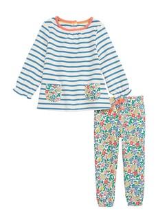 Mini Boden Supersoft Stripe Tee & Leggings Set (Baby Girls & Toddler Girls)