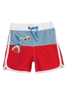 Mini Boden Surf Badges Swim Trunks (Toddler Boys, Little Boys & Big Boys)