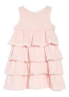 Mini Boden Tiered Lace Trim Dress (Toddler Girls, Little Girls & Big Girls)