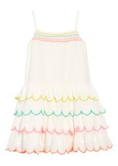 Mini Boden Tiered Scallop Dress (Toddler Girls, Little Girls & Big Girls)