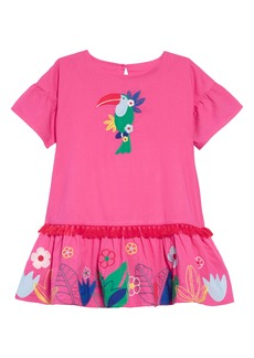 Mini Boden Tropical Woven Appliqué Dress (Toddler Girls, Little Girls & Big Girls)