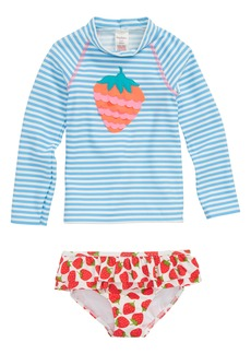 Mini Boden Two-Piece Rashguard Swimsuit (Baby Girls & Toddler Girls)