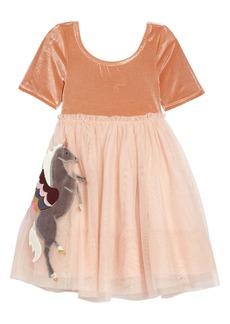 Mini Boden Velvet Appliqué Dress (Toddler Girls, Little Girls & Big Girls)