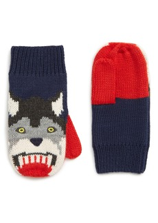 Mini Boden Wolf Knit Mittens (Toddler Boys & Little Boys)