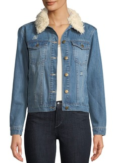 Mink Pink Into The Wild Embroidered Denim Jacket