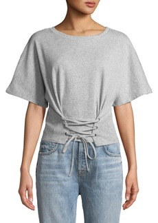 Mink Pink Lace-Up Short-Sleeve Sweatshirt Top