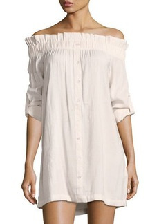 Mink Pink Business Casual Off-the-Shoulder Mini Shirtdress