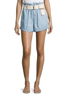Mink Pink Clean-Cut Belted Paperbag Shorts