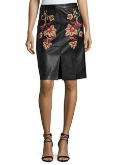 Mink Pink Fallen Embroidered Faux-Leather Midi Skirt