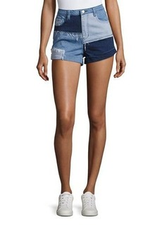 Mink Pink Mid-Rise Soul Patch Denim Shorts