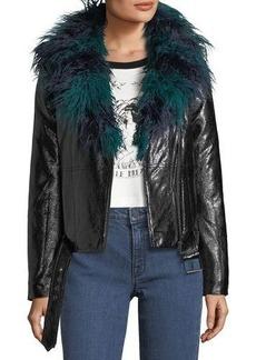 Mink Pink Midnight Faux-Fur Leatherette Biker Jacket