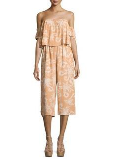 Mink Pink Nusa Dua Off-Shoulder Printed Jumpsuit