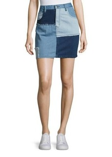 Mink Pink Soul Patch Denim Mini Skirt