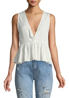 Mink Pink Promise Spotty Twist-Front Top