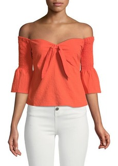 Mink Pink Say It Right Smocked Off-The-Shoulder Babydoll Top
