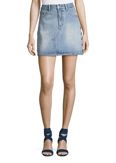 Mink Pink The Youth Eyelet Denim Mini Skirt