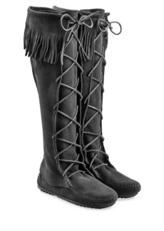 Minnetonka Fringed Suede Knee Boots with Lace-Up Front