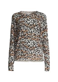 Minnie Rose Cashmere Leopard-Print Crewneck Sweater