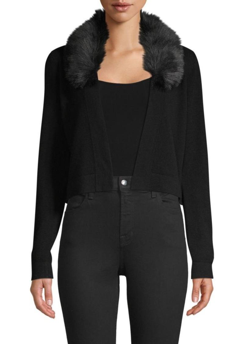 Minnie Rose Faux Fur-Trim Cashmere Cardigan