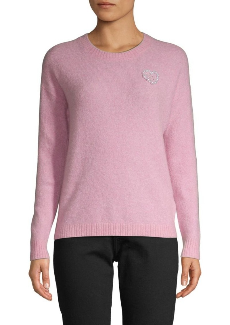 Minnie Rose Faux Pearl Heart Sweater