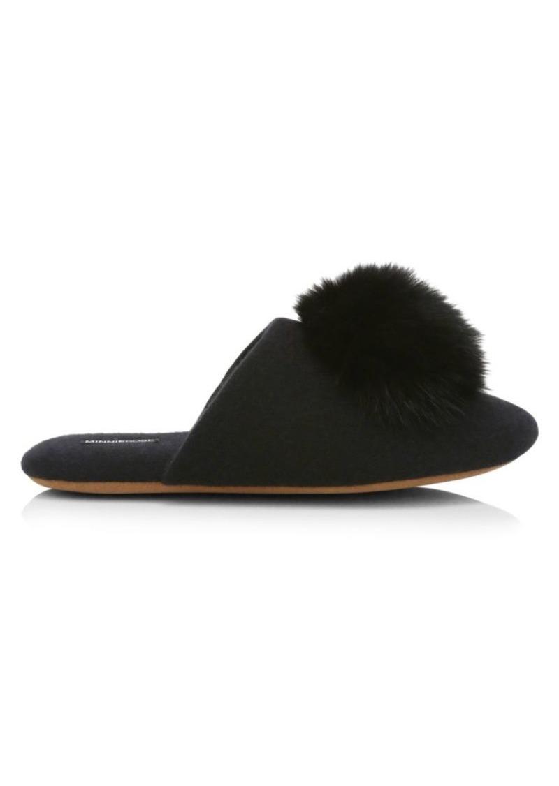 Fox Fur Pom-Pom Cashmere Slippers