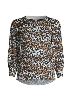 Minnie Rose Leopard-Print Puff-Sleeve Top