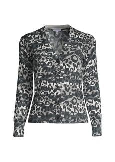 Minnie Rose Leopard-Print V-Neck Cardigan