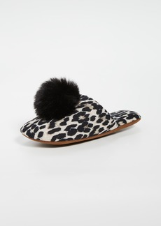 Minnie Rose Cashmere Leopard Pom Pom Slippers