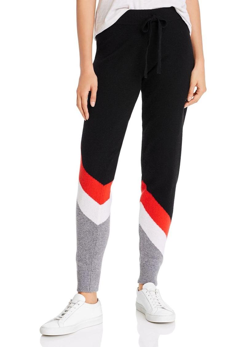 Minnie Rose Color-Block Cashmere Jogger Pants