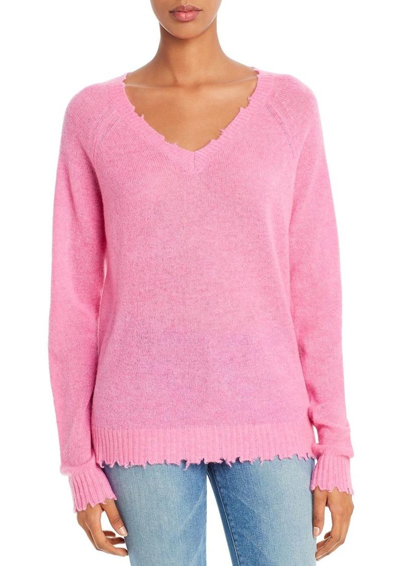 Minnie Rose Distressed V-Neck Cashmere Sweater