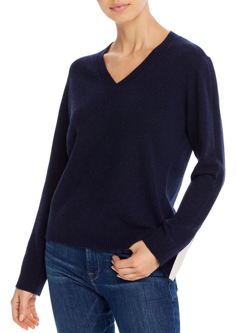 Minnie Rose Slit-Cuff Cashmere Sweater