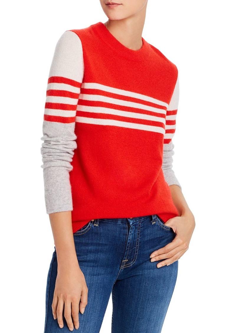 Minnie Rose Striped Color-Block Cashmere Sweater