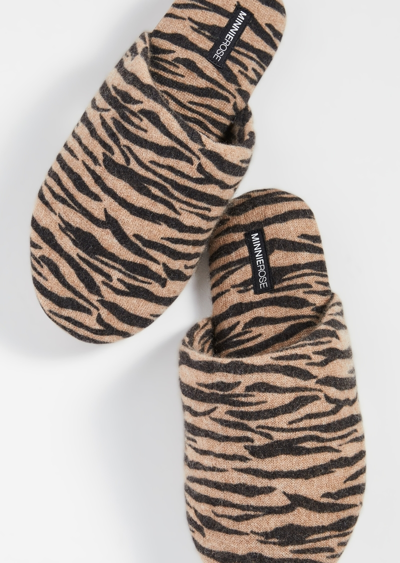 Minnie Rose Tiger Cashmere Slippers