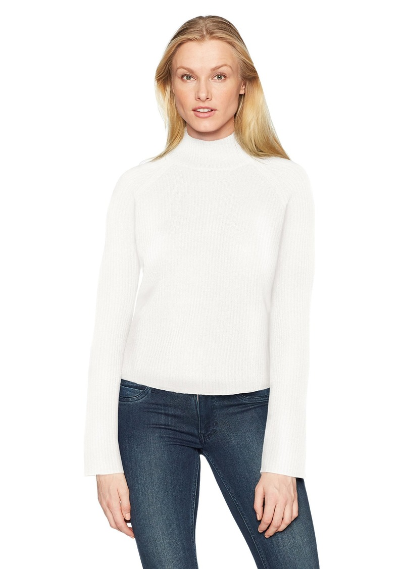 Minnie Rose Women's 100% Cashmere Ribbed Mock Sweater  L