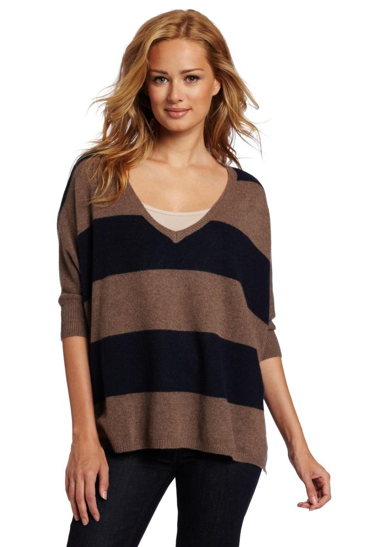 Minnie Rose Women's 100% Cashmere Stripe Pow Wow Top Sweater Medium/Large